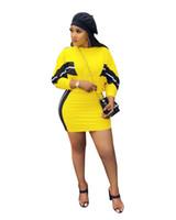 uzun kollu sarı kalem elbiseler toptan satış-Yan Çizgili Rahat 2 Parça Elbise Kadın Uzun Kollu Üst Ve Mini Kalem Etekler Bahar Sıcak Satış Sarı Kıyafetler