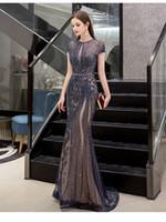 nackte abendkleid bilder großhandel-Dubai Luxus Strass Nude Kristall / Perlen Mermaid Prom Kleider Lange Abend Festzug Kleider Formal Gown Real Pictures robe de soiree