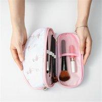 reise-make-up pinsel großhandel-Art und Weise bewegliche Kosmetik-Beutel doppelte Schicht Spielraum-Verfassungs-Beutel-Flamingo Kreistaschen Frauen bilden Bürsten-Beutel-Organisatoren