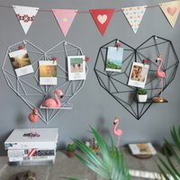 Wholesale room decor photos resale online - Ins Iron Grid Bedroom Decor Photo Wall Heart Shaped Dormitory Bedroom Pendant White Black Creative Wall Decoration xhD1