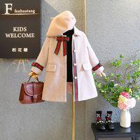 chaqueta de arco otoño al por mayor-2019 otoño invierno cabritos de la capa nueva muchachas de la llegada princesa de la moda de lana chaquetas con arco y perlas