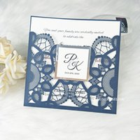Navy Blue Shiny Laser Cut Wedding Invitations with Tag and Silver Mirror Bottom 20+Color Editable Print Quinceanera Invitation Party Invites