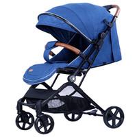 cochecitos uno al por mayor-0-3 años de edad, cochecito alto para bebés con tirador de un botón plegable función de absorción de cuatro ruedas cochecito de bebé