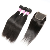 Wholesale 100 virgin brazilian hair for sale - Ais Hair Indian Virgin Hair With Closure Extension Bundles Straight With x4 Closure Unprocessed Remy Human Hair Weave