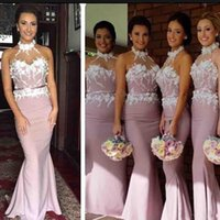 Wholesale wedding dresses under 100 for sale - Halter Mermaid Bridesmaid Dresses Backless Sweep Train D Flowers Appliques Garden Country Arabic Wedding Guest Gowns Maid Of Honor Dress