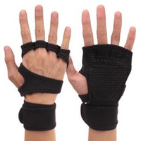 Wholesale half slip xl for sale - Group buy Fitness training half finger gloves men women Gym With wristband anti slip device deadlift exercise weight lifting palm gloves AAA1574