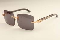 beinleuchten groihandel-2019 neue Luxus-Mode Diamant ultra light große Kasten-Sonnenbrille 352412-D4 natürliche schwarze Muster Hörner Beine Sonnenbrille spiegeln DHLfree Verschiffen