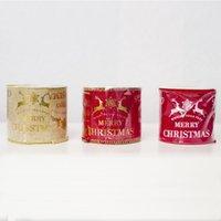 ingrosso archi di raso d'oro-3M / Roll6CM Nastro di Natale Trim Raso di Grosgrain Oro Rosso Alce Plaid Tessitura Albero Decorazioni FAI DA TE Bow Bowknot Cravatta Confezionata