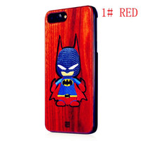 Wholesale batman mobile for sale - New model Fine knitted embroidery Batman bamboo Cherry Blossom wood black walnut wood three kinds of mobile phone protective s