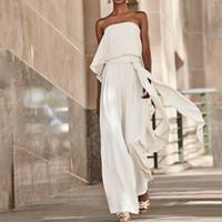 ingrosso jumpsuits bianco backless-Fashion 2020 White Wide Legs Women Tuta Abiti da festa Una linea senza spalline Sexy Backless Long Street Abbigliamento Donna YL2594