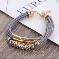 europa-perlen-art und weisearmband großhandel-Armband Großhandel 2019 Neue Modeschmuck Leder Armband für Frauen Armreif Europa Perlen Charme Gold Armband Weihnachtsgeschenk