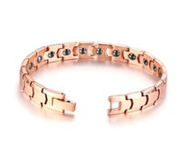 Wholesale chains germanium resale online - For Women Gifts Rose Gold Stainless steel health care magnet germanium Ge Chain bracelet Bangle Fashion XMAS Gifts mm