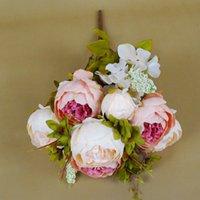 flores artificiais para hotéis venda por atacado-flor peônia artificial Europeia 1Bunch partido de seda falsos peônias flores para Home Hotel decoração DIY casamento coroa de decoração