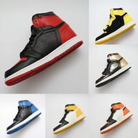 36 yüzük toptan satış-Tasarımcı ayakkabı 1 OG Basketbol Ayakkabıları Mens Chicago 1 S 6 MID Yeni KADıN yüzükler Sneakers Bred Toe Eğitmenler Aşk UNC Spor Ayakkabı boyutu 36-47