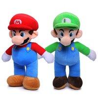 bros oyuncakları toptan satış-Süper Mario Bros Luigi Mario Peluş Oyuncaklar Standı Yumuşak Dolması Anime Bebekler Çocuk Hediyeler için 10 inç 25 cm Süper Mario Peluş Oyuncaklar RRA2017