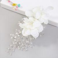 Wholesale lace flowers tiaras resale online - Elegant Floral Hair Pins For Women Bridal Hair Accessories White Lace Yarn Flower Pearl hairgrip Wedding Tiara Crown Headpieces