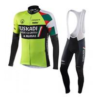 uzun binici pantolon toptan satış-Euskadi takım erkek uzun Kollu Bisiklet Jersey tops ve Önlüğü pantolon setleri Bisiklet Sürme Giysileri Açık bisiklet spor Q72023