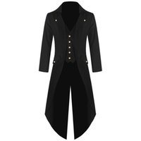 ingrosso vestito medioevale-2019 Steampunk Coats Tuxedo manica lunga Suit Cappotti Medieval Jacket Pirate Costume Slim Fit Outwear