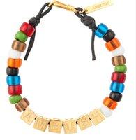 pulsera de letras cuadradas al por mayor-AMBUSH 925 letras cuadradas de colores cuentas de esmalte hip hop pulseras parejas de moda exquisita caja de embalaje