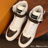 marka rahat ayakkabılarla eşleş toptan satış-2020 Toptan Trend LU Marka Tasarımcıları MATCH-UP Sneakers Çizmeler Eğitmenler Rahat Ayakkabılar Erkekler için Yüksek Top Monogram Sneaker Erkek Kutusu