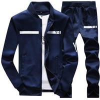 casaco de pano para homem venda por atacado-Nova Marca Designer Homens Treino de Inverno Sportswear Hoodies Casaco Solto Mens Moda Treino Zipper Camisolas Conjuntos Plus Size Pano