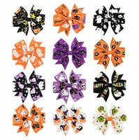 Wholesale grosgrain ribbon baby girl for sale - Group buy Halloween Christmas Grosgrain Ribbon Bows With Clip Girls Kids Ghost Pumpkin Baby Girl Pinwheel Hair Clips quot Hair Pin Accessories