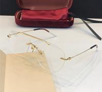 metall beine box großhandel-New Luxury Designer Optische Gläser 0398 Retro Trend Metall Frameless Eyewear Tricolor Brille Beine Avantgarde Design Top Qualität