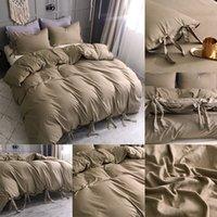 ingrosso set di lenzuola di lusso marrone-Set biancheria da letto Copripiumino Arredo per la casa Copripiumino di lusso Set letto matrimoniale marrone Nuovo