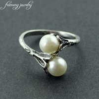 Wholesale game jewelry resale online - 20pcs Adjustable Game Of Thrones Daenerys Targaryen Two Simulated Pearl White Rings For Women Charm Lovely Gifts Fashion Jewelry C19041203