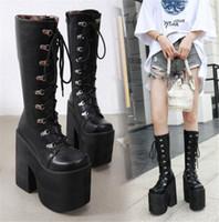 botas altas de tacón alto al por mayor-PXELENA japonesa Punk Plataforma gruesa de combate cosplay Botas Mujeres Chunky Bloque talones de Hip Hop rodilla gótica Altas botas de Harajuku Zapatos