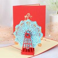 ingrosso disegni handmade di biglietti di auguri di compleanno-Moda 3D Laser Cut Post Cards Compleanno Valentine Greeting Cards 3D Ferris Wheel Greeting Design fatto a mano