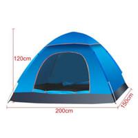 ingrosso pali di tenda fibra di vetro-Tenda da campeggio a due strati per due persone Kit per tenda da campeggio all'aperto Tenda per resistenza all'acqua in fibra di vetro con borsa per trasporto Escursionismo Viaggiare CTS002