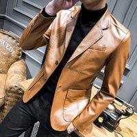 terno animal coreano venda por atacado-Outono coreano PU Blazers De Couro Dos Homens Casuais Mens Terno Casaco Fino Ocasional Da Motocicleta Faux Leather Suit Homme Traje # 556023