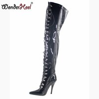 Wholesale overknee boots thigh high for sale - Group buy Wonderheel Extreme high heel PU shiny cm High Heel overknee boots thigh boots sex fetish lace up crotch