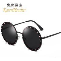 fotos de incrustaciones al por mayor-Gafas de sol redondas con incrustaciones de diamantes, decoración de la personalidad, gafas de sol de foto de calle (compre 10 y envíe una gafa)
