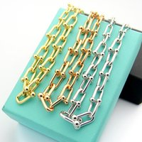 Wholesale bold necklaces for sale - Group buy U Shape Bold Chain Necklace for Lover Stainless Steel Silver Rose Gold Color Necklaces Luxurious Brand Jewelry Drop Shipping
