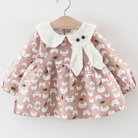 Wholesale fall tutu kids for sale - Group buy New Baby Coat Fall and Winter Kids Cotton Floral Printed Plain Outwear with Bow Cute Toddler Kids Clothing