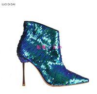botas de lentejuelas azules al por mayor-2019 nuevas mujeres bling bling botas mujeres sexy botines de tobillo azul del dedo del pie puntiagudo botas de lentejuelas zapatos de fiesta para mujer zapatos de tacón delgado mujer