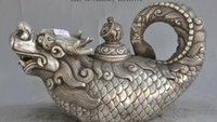 drachenfisch groihandel-Dekoration Bronze Factory Outlets Tibet Silber Old China Dynastie Silber Auspicious Scleropages Dragon Fish Wein Tee-Topf Flagon