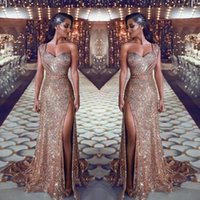 Wholesale plus size sleeveless for sale - One Shoulder Sweetheart Sequin Mermaid Prom Evening Dresses Ruched Split Beaded Waistband Party Gowns Sweep Train Plus Size Arabic Dresses
