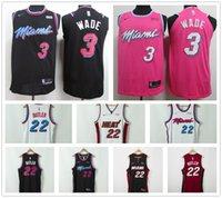 ingrosso maglie di calore-Maglia da basket Miami Dwyane Dwayne 3 Wade da uomo a buon mercato Heat Jimmy 22 Butler maglie da basket cucite al 100%