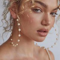 gold weiße perle großhandel-1 Para Frauen Großen Runden Kreis Ohrringe Weiße Perle Perlen Tropfen Baumeln Creolen Hochzeit Schmuck