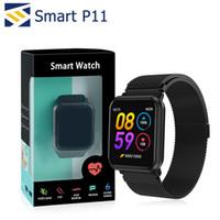 bandas de seguimiento al por mayor-P11 inteligente Banda aptitud del reloj de pulsera inteligente Rastreador ritmo cardíaco del deporte PK N88 SmartWatch para Apple reloj DZ09 con el paquete