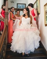 Wholesale orange black organza skirt for sale - Group buy Sweetheart Organza Wedding Dresses Plus Size Ruffle Tiered Beads Lace Sweetheart Bridal Ball Gown For Bride Arabic Mariage robe de mariée