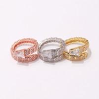 jóias de anéis de cobra venda por atacado-2019 moda Zircon Titanium aço inoxidável cobra Anéis amante da jóia por Mulheres Homens placa de ouro Anéis Beleza Abertura de jóias de casamento