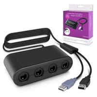 teléfonos de cable púrpura al por mayor-Super Smash Bros Adaptador de controlador de 4 puertos GameCube para Wii U, Nintendo Switch y PC USB (Negro)