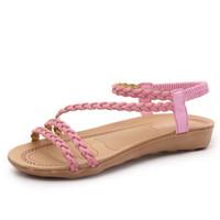 sandalias de moda de la cruz al por mayor-Sandalias Boca de Pescado hembra Verano Trenza Cinturón Flattie Zapatos romanos Moda Material de goma Vendaje cruzado Color sólido 16fg C1