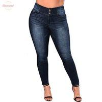 polyester-rayon-spandex-hose großhandel-5Xl Frauen Plus Size Jeans-beiläufige Push-Up-Denim-Jeans-Strech-hohe Taillen-Hosen nehmen Hosen Fit Bodycon