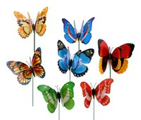 ingrosso decorazioni colorate della piuma-50pcs 12cm Colorful Two Layer Feather Big Butterfly Stakes Ornamenti da giardino Rifornimenti del partito Decorazioni per Outdoor Garden Fake Insects
