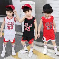 kinder basketball-set großhandel-Kindkleidung 3 Farben Kleinkindjungenkleidung Kindbasketballuniform-Trainingsanzug 2pcs stellte Kinderjungenmädchensportkleidung gesetzte Ausstattung JY282 ein